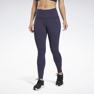 Women Yoga Purple Reebok Lux High-Rise Tights 2.0