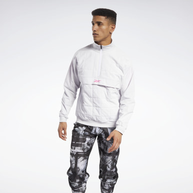 Men Training White MYT Quilted Half-Zip Jacket