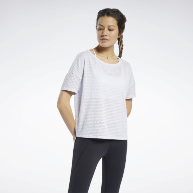 Women Training White Perforated Tee