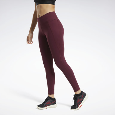 Women Cross Training Burgundy Reebok Lux Tights 2.0