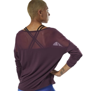 Women Dance Purple Dance Mesh Top