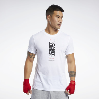 Heren Fitness & Training Wit Combat Wordmark T-shirt
