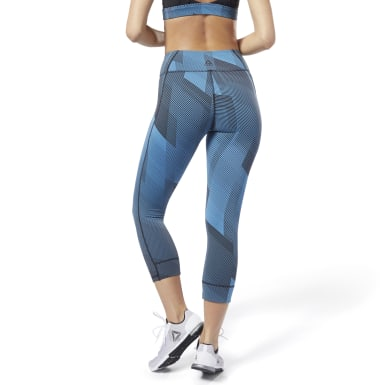 Women Training Blue Reebok Lux 3/4 Length 2 Leggings