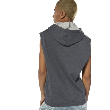 Women Fitness & Training Grey Combat Legacy Sleeveless Hoodie