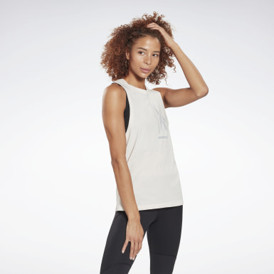 Dam Vandring Vit Graphic Tank Top