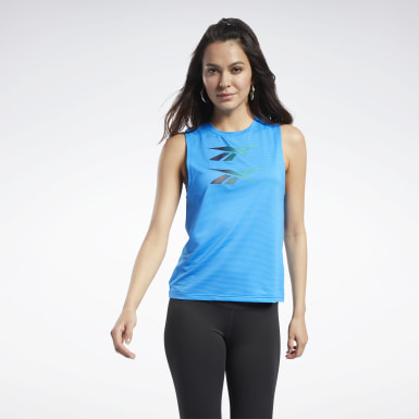 Women Cycling Blue Mesh Tank Top