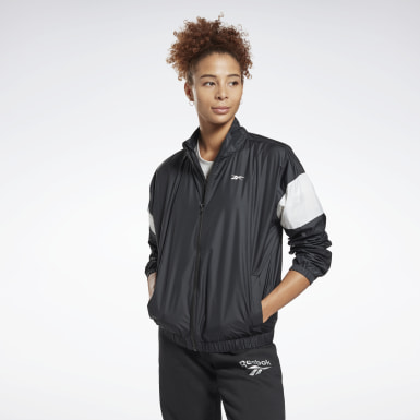 Women Fitness & Training Black Linear Logo Jacket