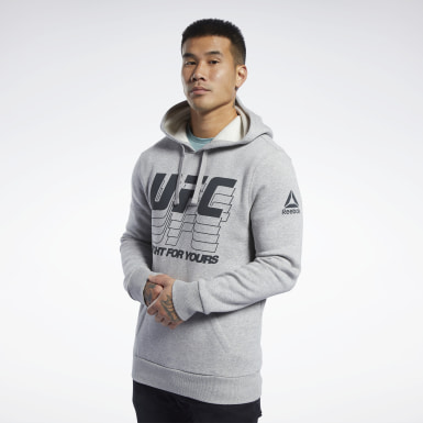 Men Fitness & Training Grey UFC Fan Gear Hoodie