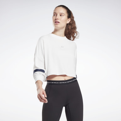 Felpa girocollo Les Mills® Lightweight French Terry Bianco Donna Studio