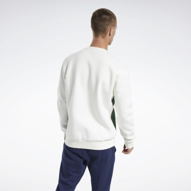 Men Classics White Classics Linear Crew Sweatshirt