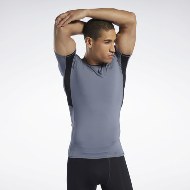 Men Fitness & Training Grey Workout Ready Compression Tee
