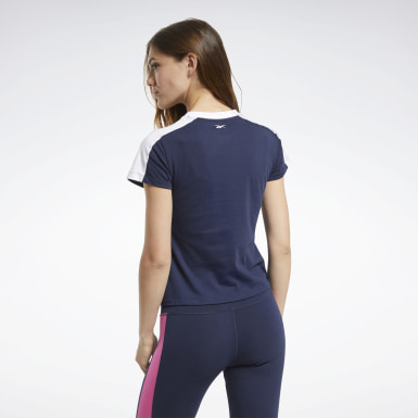 Women Fitness & Training Blue Training Essentials Linear Logo Detail Tee