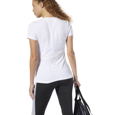 Women Fitness & Training White V-Neck Tee