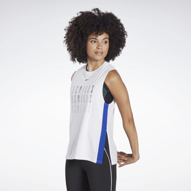 Women Cycling White LES MILLS® Mesh Tank Top