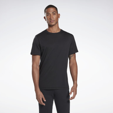 Männer Fitness & Training Cotton Crew T-Shirt Schwarz