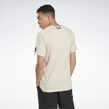 Heren Studio Beige LES MILLS® Pocket T-shirt