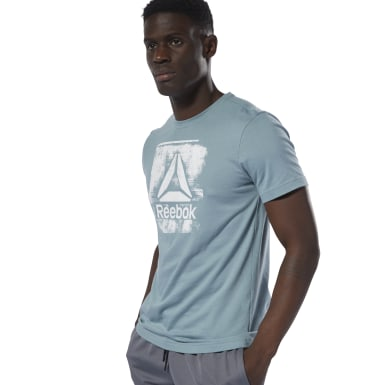 Men Fitness & Training Blue Stamped Logo Crew Tee