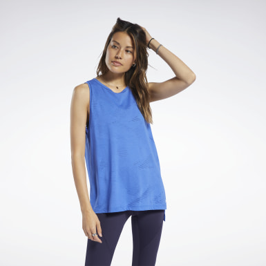 Women Training Blue Burnout Tank Top