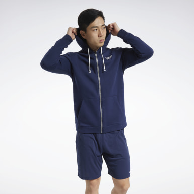 Men Training Blue Training Essentials Fleece Zip Up Hoodie