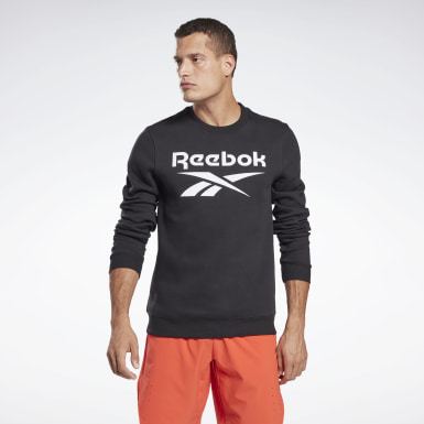 Men Fitness & Training Black Reebok Identity Fleece Crew Sweatshirt