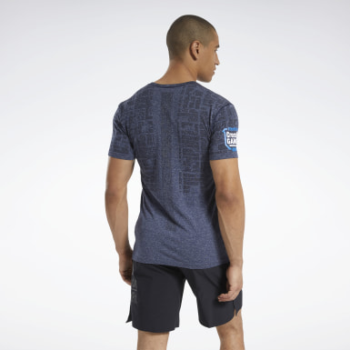 Men Cross Training Blue Reebok CrossFit® Games MyoKnit T-Shirt
