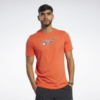 Men Fitness & Training Orange Graphic Tee