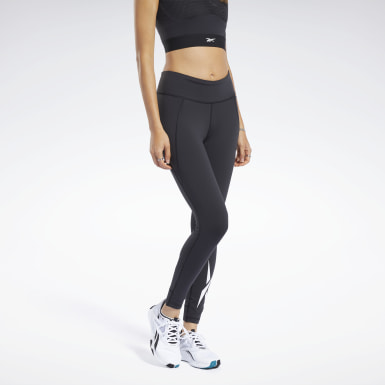 Women Training Black Reebok Lux Tights 2.0 - Vector Graphic