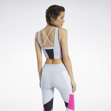 Top Crop Colorblock Grigio Donna Ciclismo