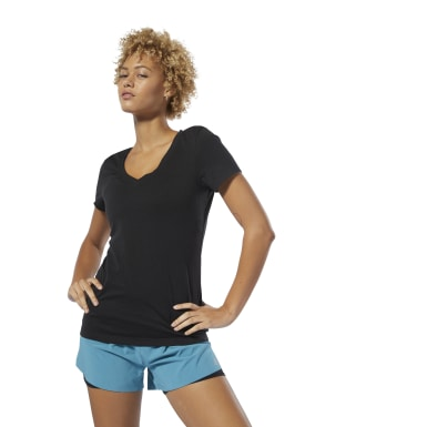 T-shirt V-Neck Nero Donna Fitness & Training