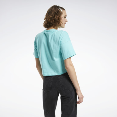 Dames Classics Turquoise Cropped T-shirt