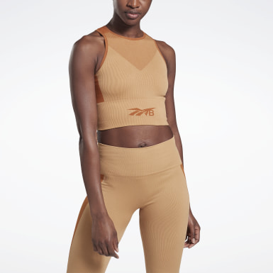 Top VB Seamless Crop Beige Donna Fitness & Training