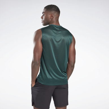 Men Fitness & Training Green Workout Ready Activchill Sleeveless T-Shirt