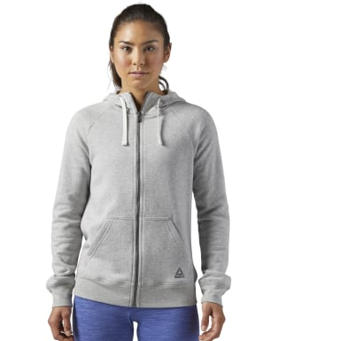 Women Training Grey Training Essentials Fleece Full-Zip Hoodie