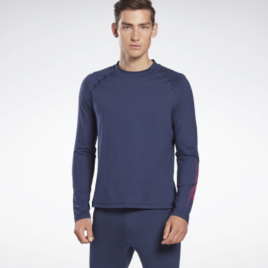Men Hiking Blue Thermowarm Touch Graphic Base Layer Long-Sleeve Top
