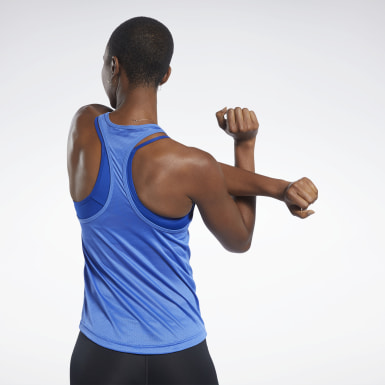 Women Yoga Blue Mesh Back Tank Top