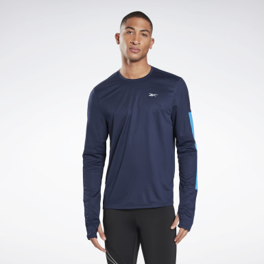 Men Hiking Blue Running Essentials Long Sleeve Shirt
