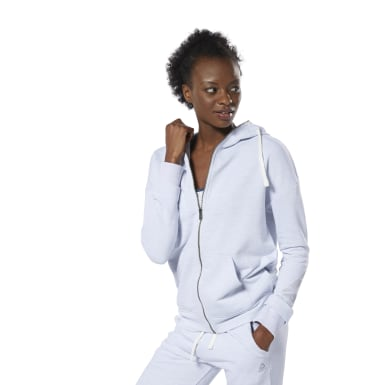Sweat à capuche zip intégral à effet marbré Training Essentials Blanc Femmes Fitness & Training