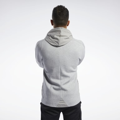 Men Fitness & Training Grey Knit-Woven Hoodie