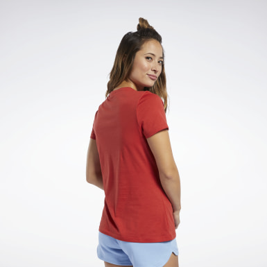 Women Pilates Red Training Essentials Graphic Tee