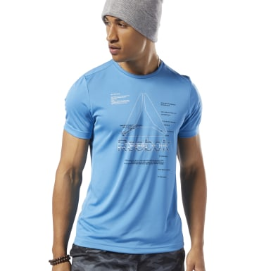 Polo Wor Poly Graphic Ss Tee Azul Hombre Fitness & Training