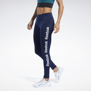 Women Fitness & Training Blue Linear Logo Tights