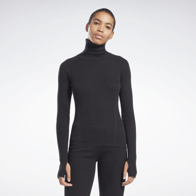 Women Fitness & Training Black VB Roll Neck Sweater
