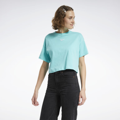 Women Classics Turquoise Cropped T-Shirt