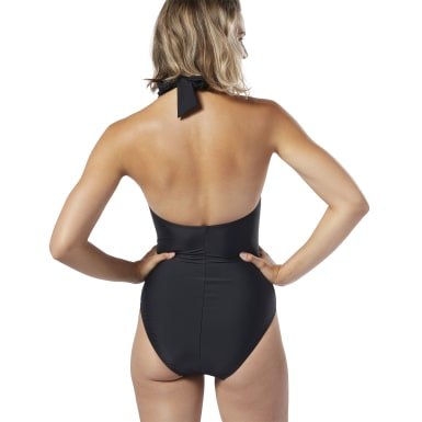 Women Training Black High-Neck Halter Swimsuit
