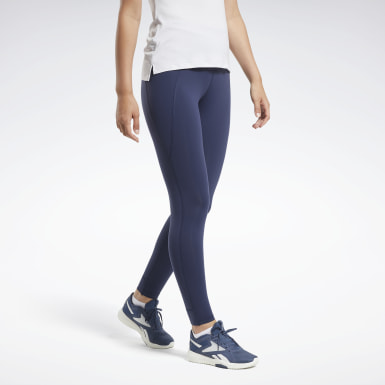 Women Fitness & Training Blue Reebok Lux High-Rise Tights 2.0