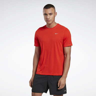 Men Trail Running Red Night Run Shirt