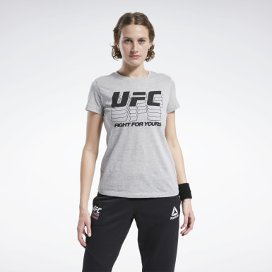 Women MMA Grey UFC Fan Gear Logo T-Shirt