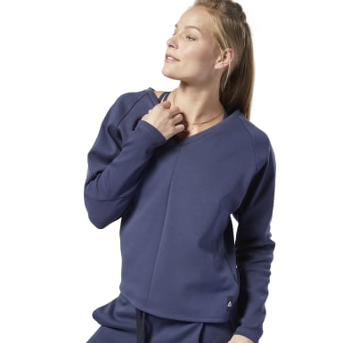 Women Yoga Blue Training Supply Crew Sweatshirt