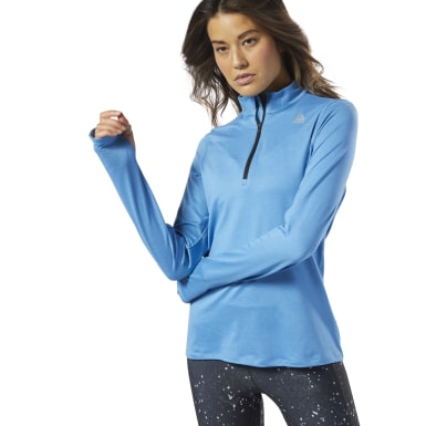 Women Running Blue Running Essentials Quarter-Zip Top