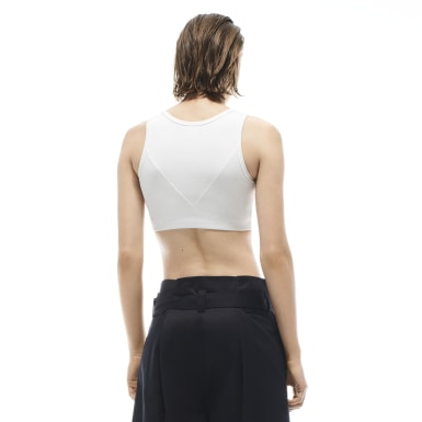 Women Fitness & Training White Victoria Beckham Rib Crop Top